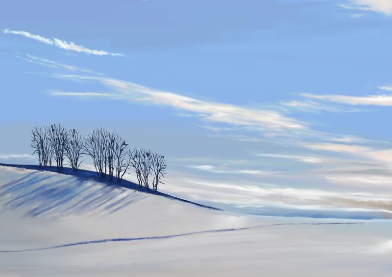 Digitaal aquarel schilderij van een sneeuwachtige landschap op een zonnige winterdag