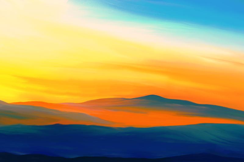 Digitaal schilderij van een vredige landschap in blauw en oranje