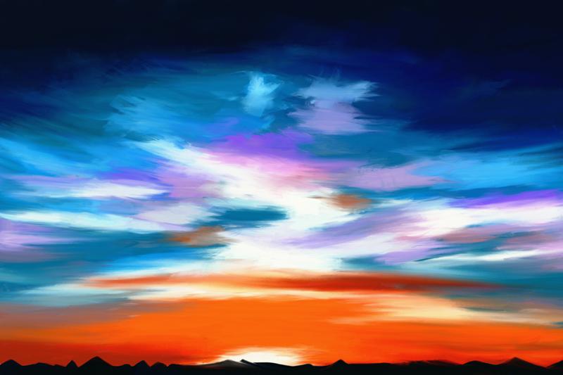 Digitaal paletmes schilderij van een bewolkte en stormachtige hemel in blauw en oranje