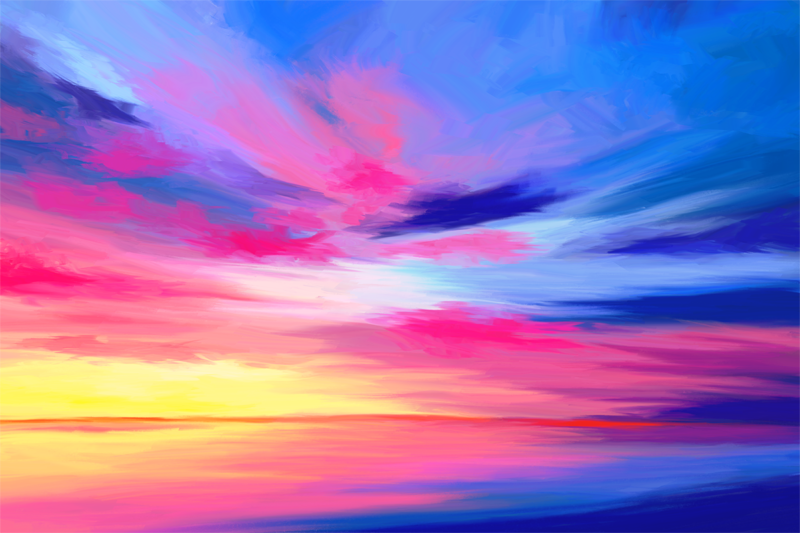 Digitaal paletmes schilderij van een dramatisch zeegezicht in pink en blauw