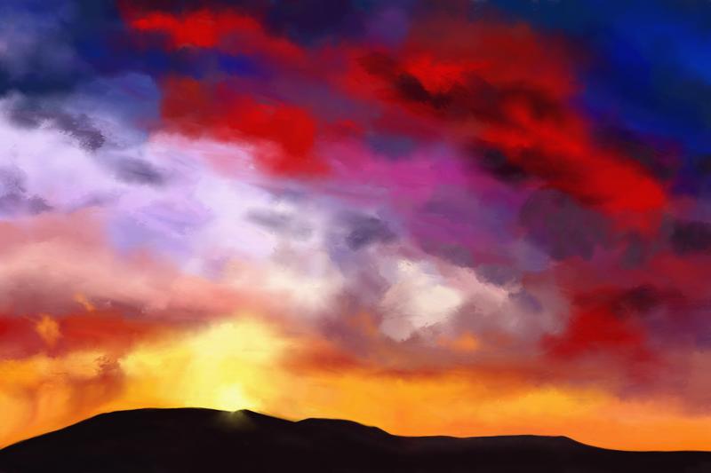 Digitaal schilderij van een stormachtige bewolkte hemel in dramatische kleuren