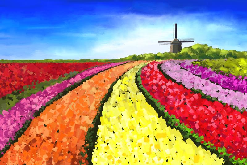 Digitaal schilderij van kleurrijke Nederlandse tulpenvelden en een windmolen