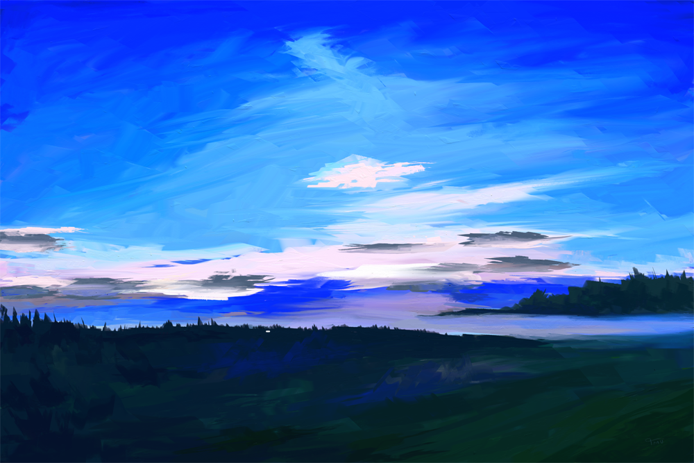Digitaal acrylschilderij van een landschap in de koele kleuren van een vroege ochtend.