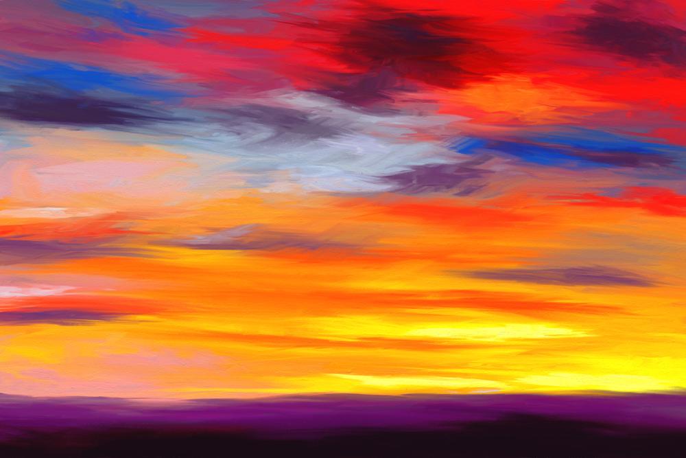 Digitaal acrylschilderij van een eenvoudig vlak landschap met een geweldige kleurrijke hemel