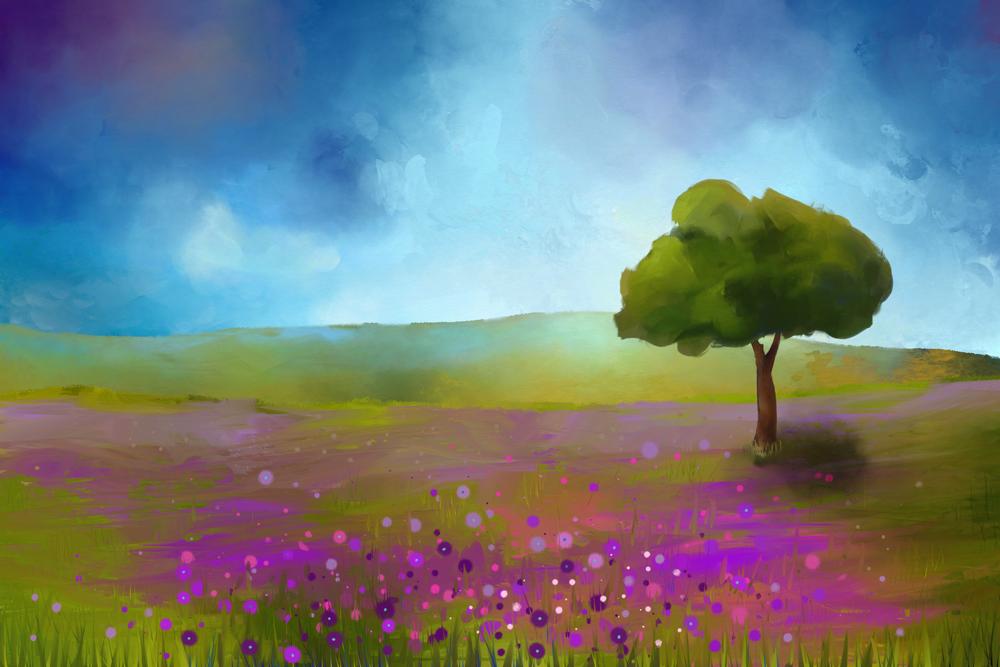 Schilderij van een landschap met een veld van paarse bloemen
