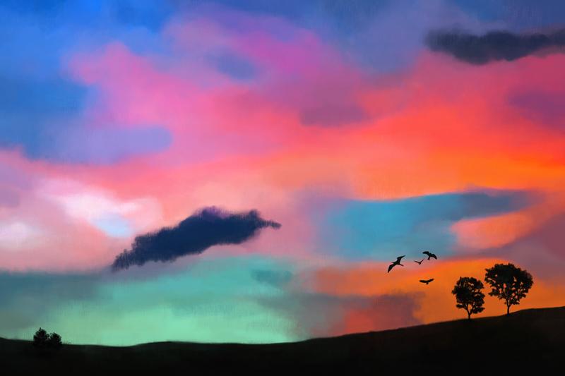Digitaal pastelkrijt tekening met een kleurrijke hemel
