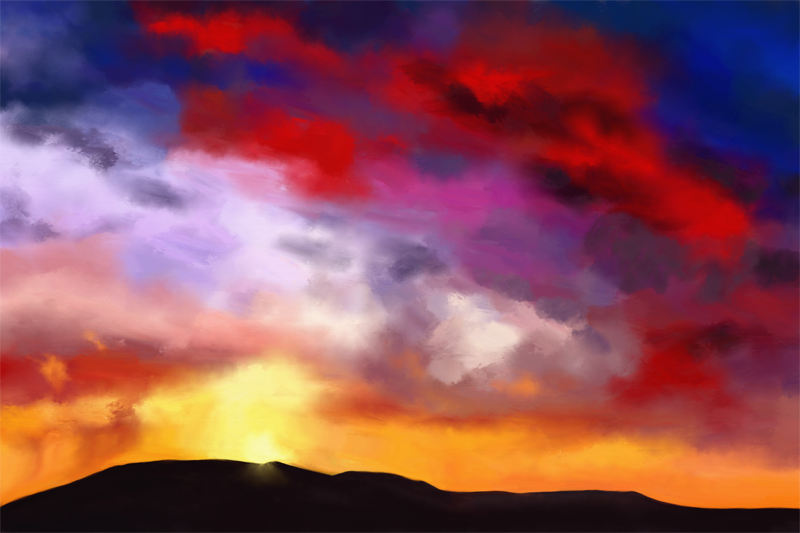 Digital painting of a sky with colorful clouds
