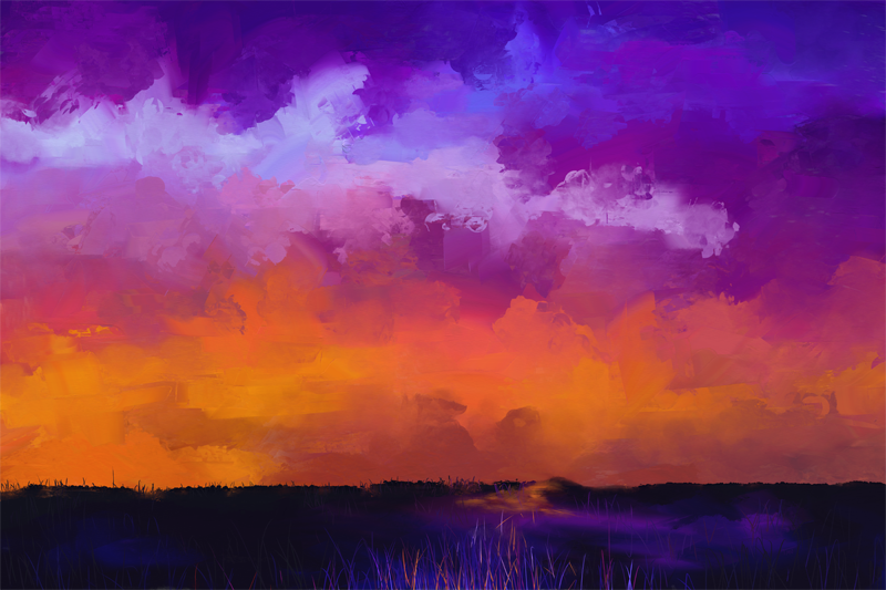 Digitaal schilderij van een simpele landschap met oranje, roze en paarse wolken