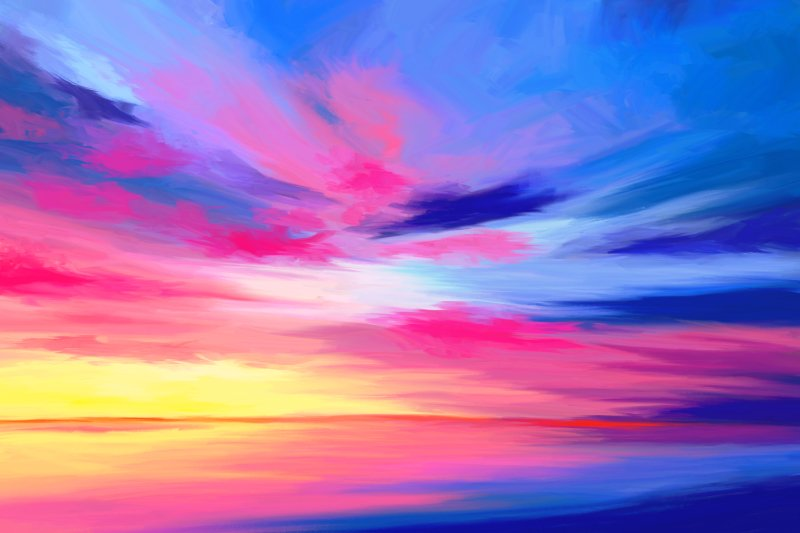 Seascape painting with a wild sky in stunning blue pink and yellow colors