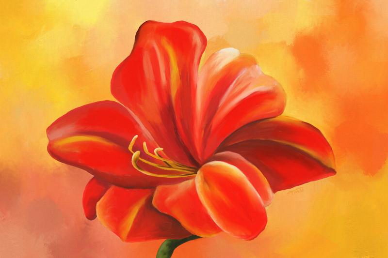 Digitaal acrylschilderij van een Azalea bloem