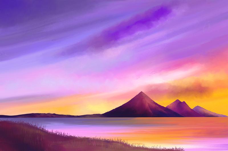 Digitaal aquarelschilderij van een meer met heuvels op de achtergrond in paars en geel
