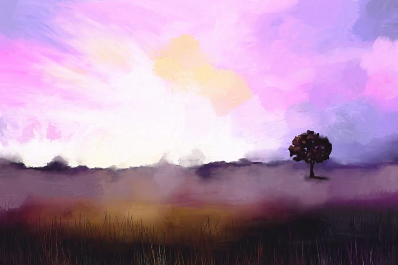 Digitaal schilderij van een landschap op een koele winter ochtend