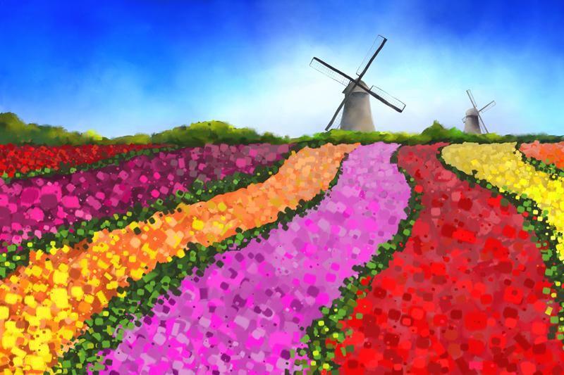 Digitaal schilderij van een landschap met bloemenvelden en twee windmolens