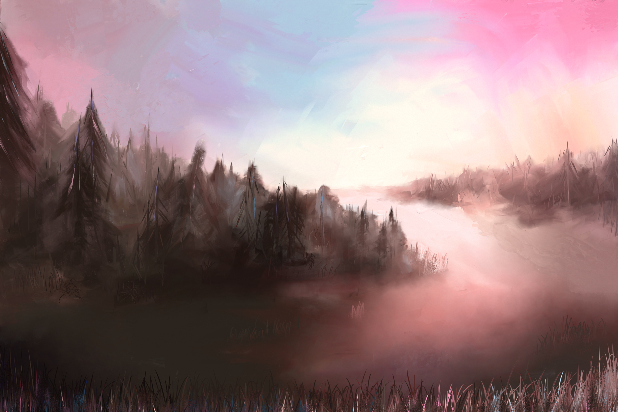 Digital acrylic painting of a landscape on a cool winter morning
