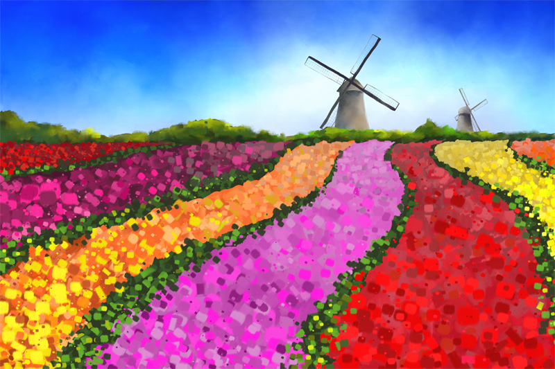 Digital painting of a landscape with flower fields and two windmills