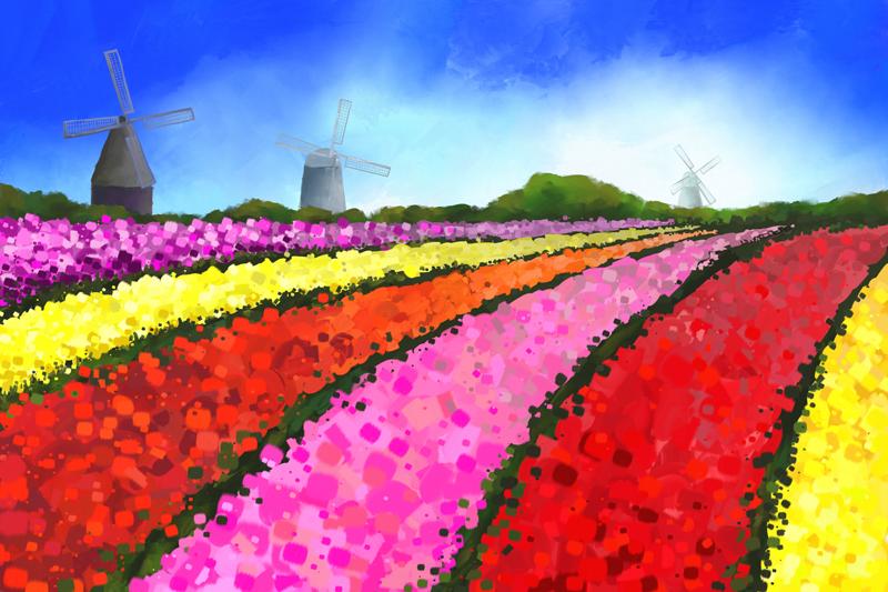 Digitaal schilderij van Nederlandse tulpenvelden en drie windmolens