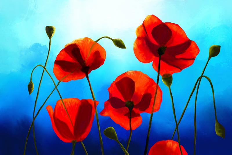 Digitaal schilderij van rode klaprozen voor een stralend blauwe hemel