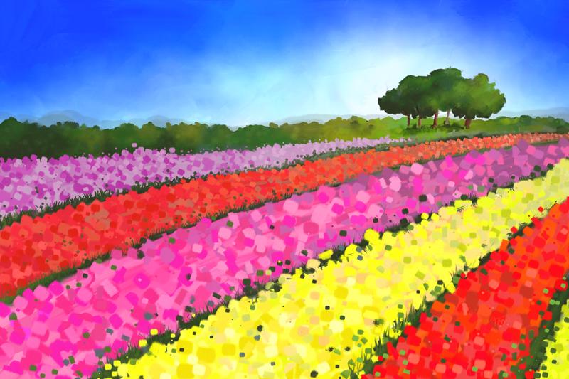 Digitaal acrylschilderij van Nederlandse tulpenvelden met bomen
