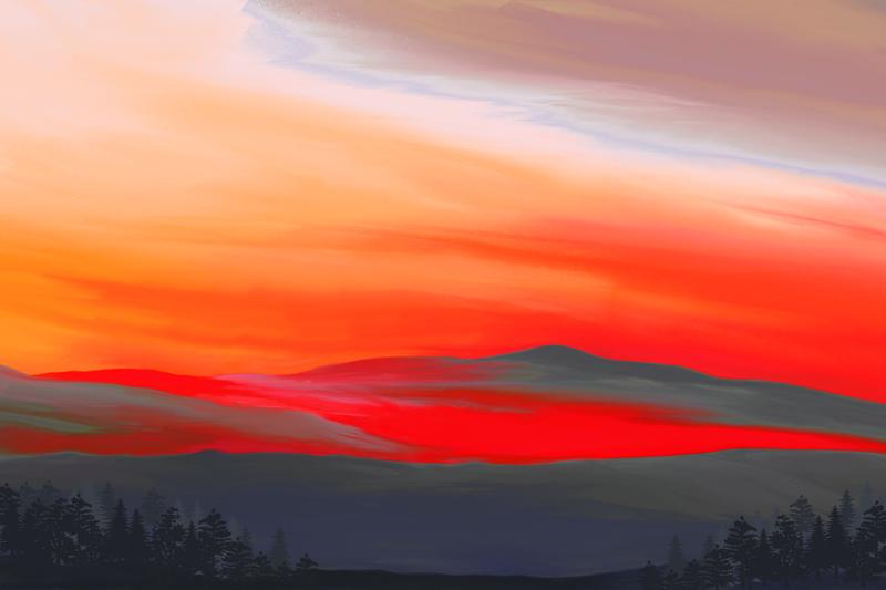 Digitaal schilderij van een landschap in intensieve rode kleuren