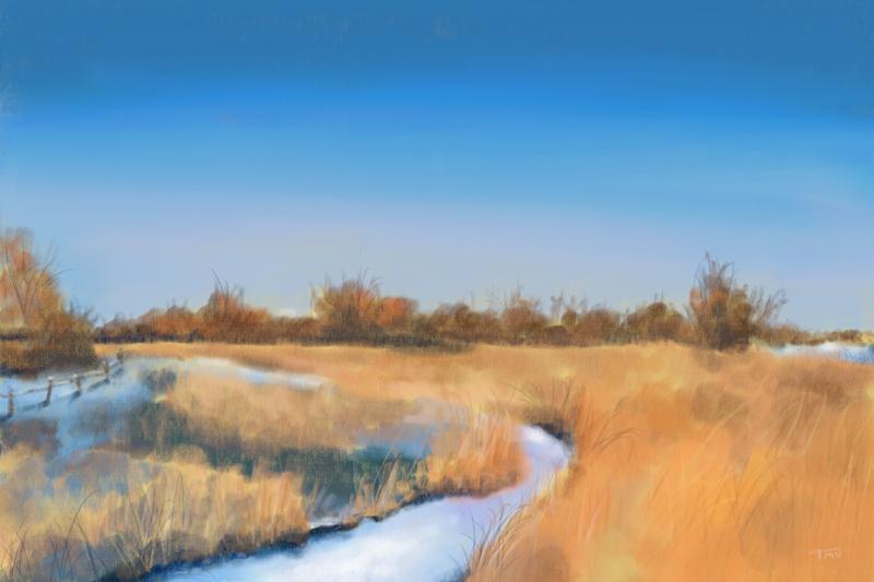 Digitaal pastelkrijt tekening van een winterlandschap met een riviertje