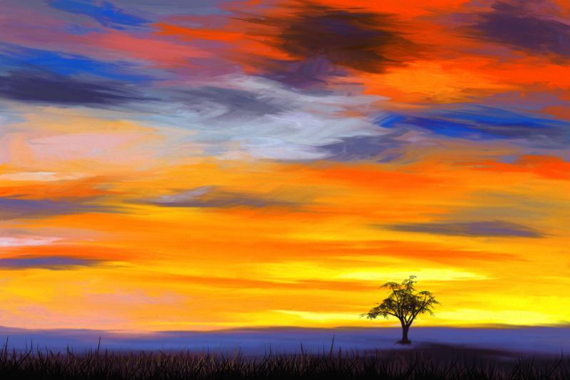 Digitaal schilderij van een landschap met een enkele boom en een dramatische hemel