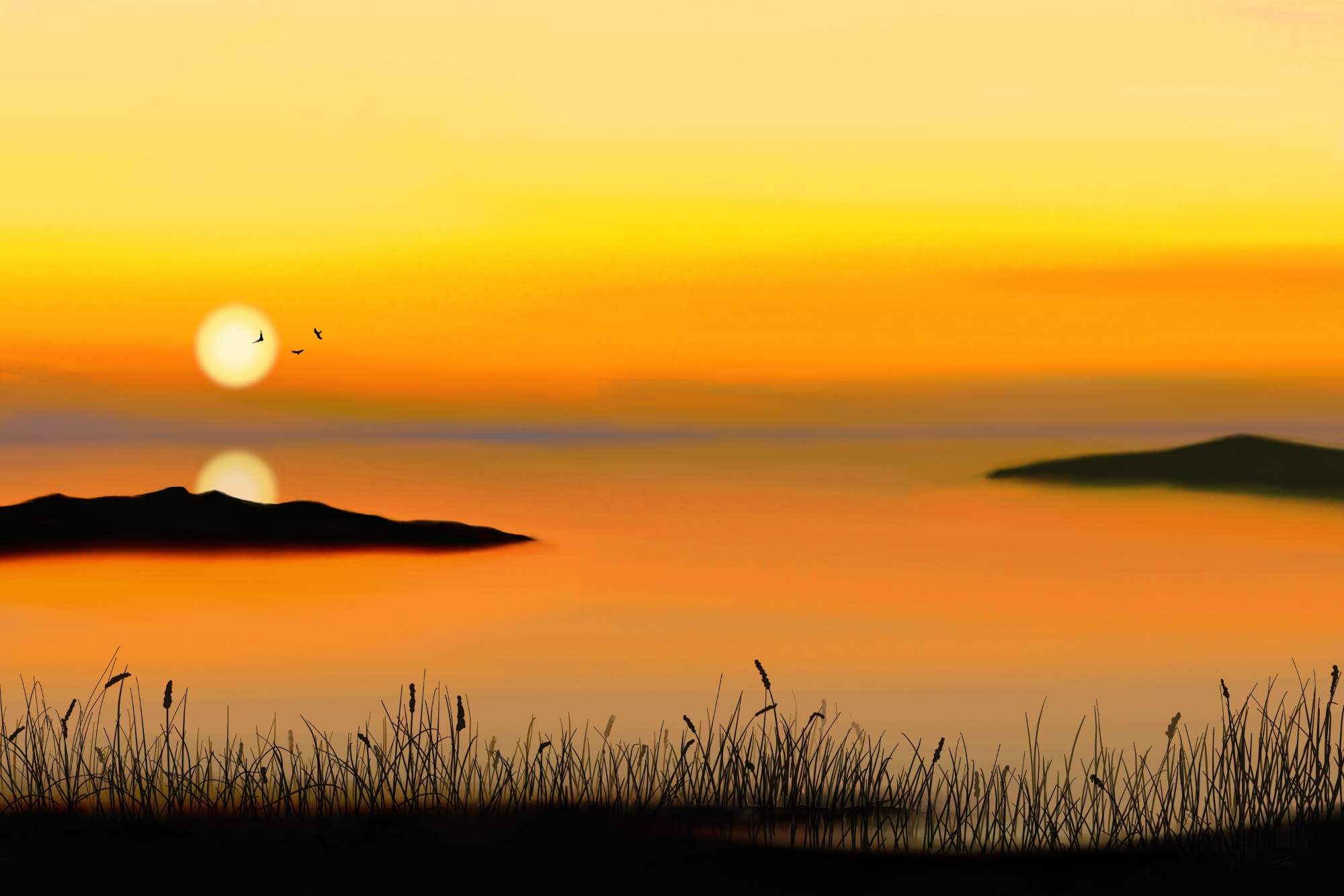 Digital acrylic painting sunset above a calm ocean