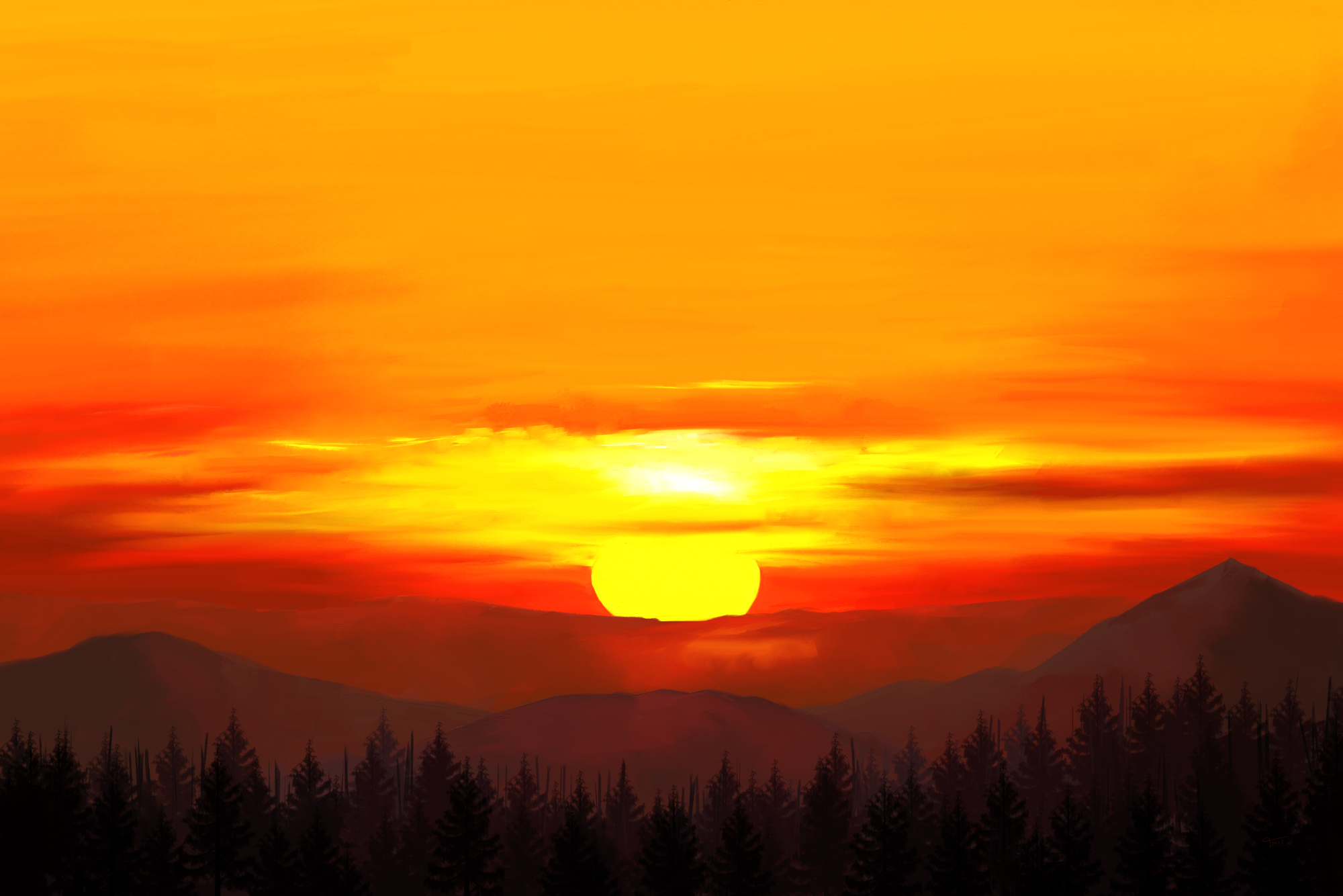 Digital painting of a Sunset in the mountains