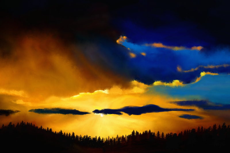 Digitaal acrylschilderij van een landschap bij zonsopgang in schitterende kleuren