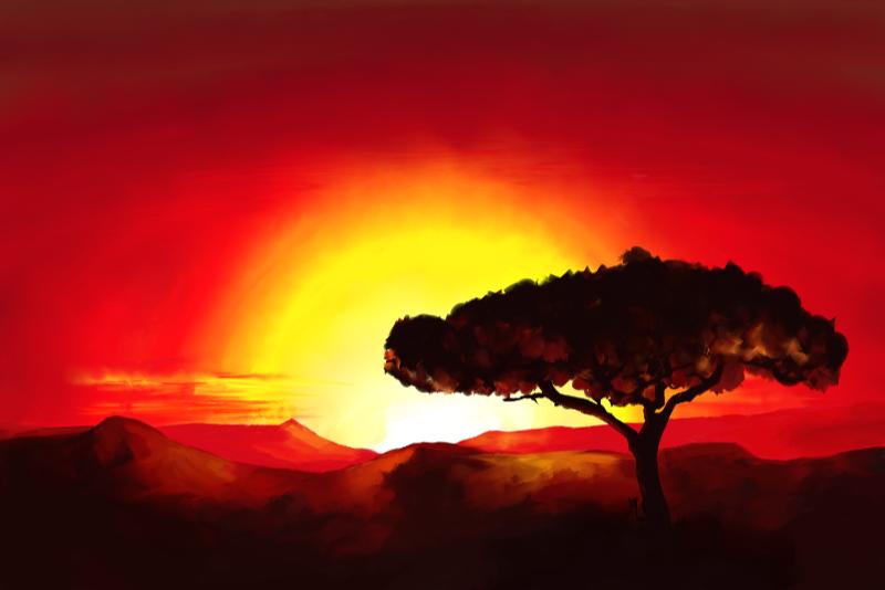 Schilderij van een landschap met aan typisch Afrikaanse boom bij zonsondergang