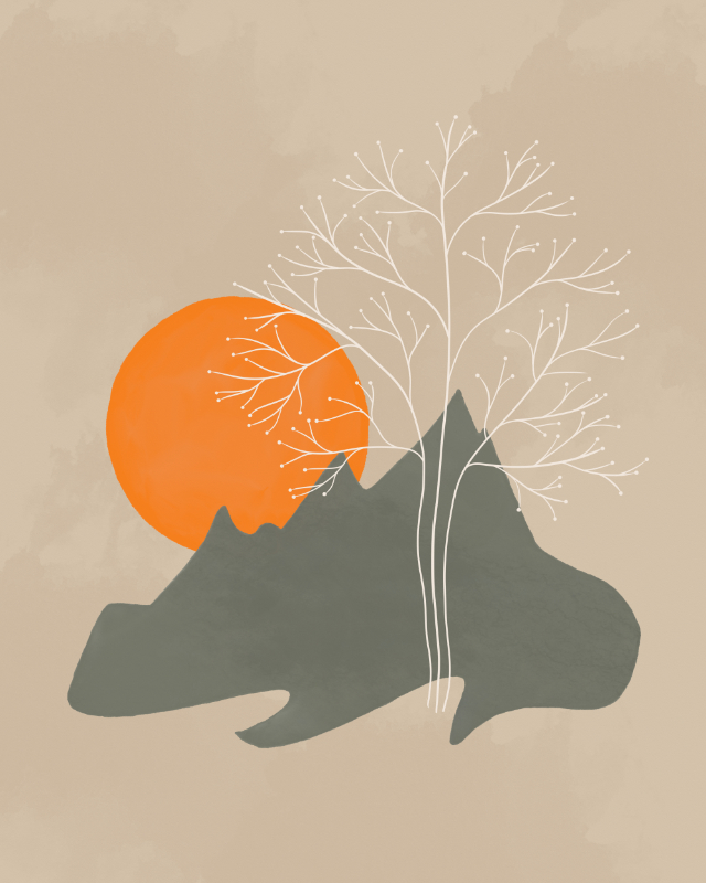 Minimalist Line Art Landscape with a fantasy tree, mountains and sun 1