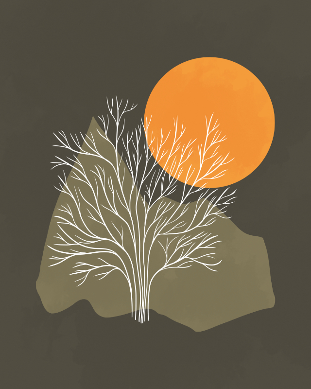 Minimalist line art landscape with a tree in the evening sun