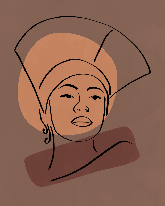 Minimalist line art, female face line drawing, lines and shapes art