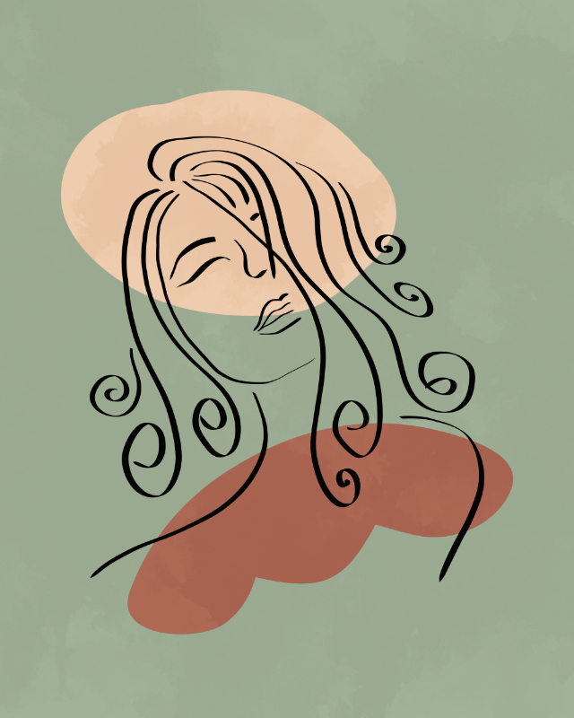 Minimalist line art, female face line drawing, lines and shapes art 21