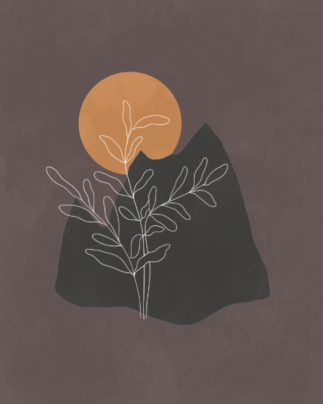 Minimalist landscape with a plant and a mountain