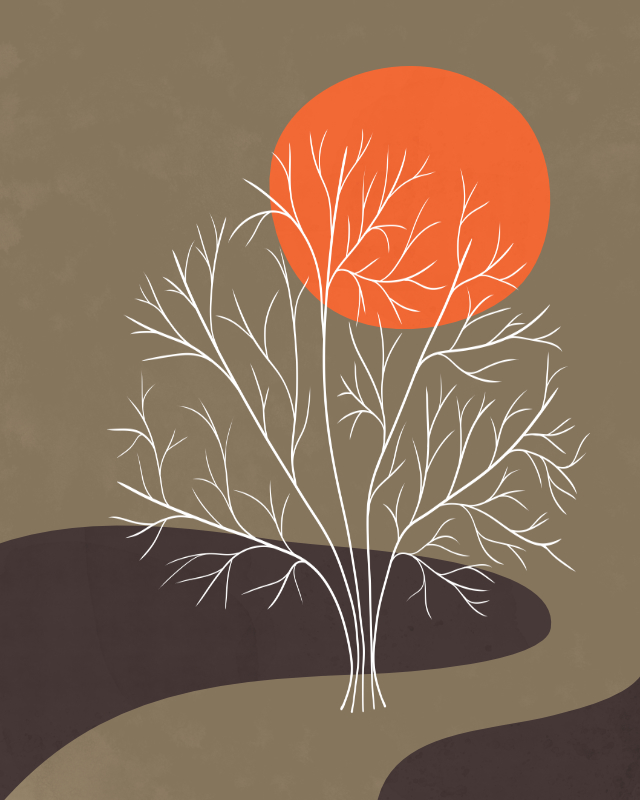Minimalist lines and shapes landscape with a tree in autumn colors 2