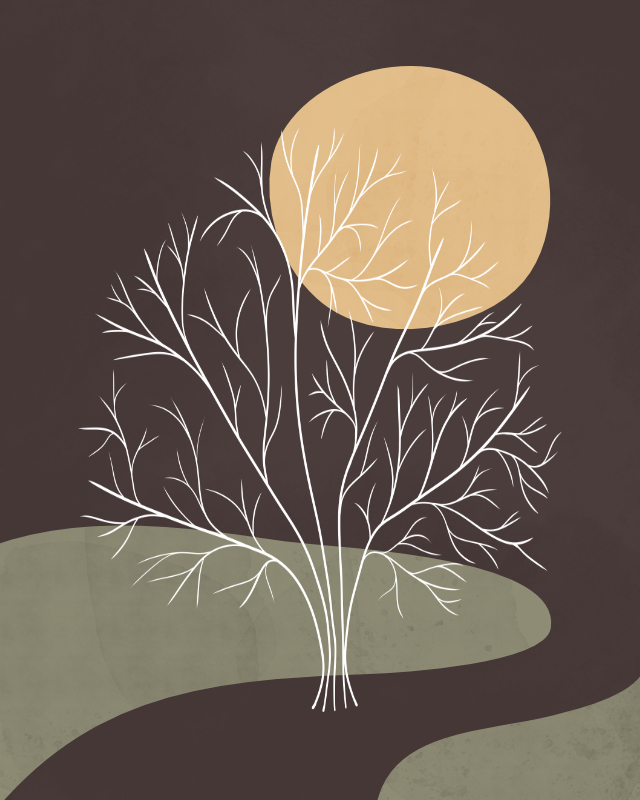 Minimalist lines and shapes landscape with a tree in autumn colors 5