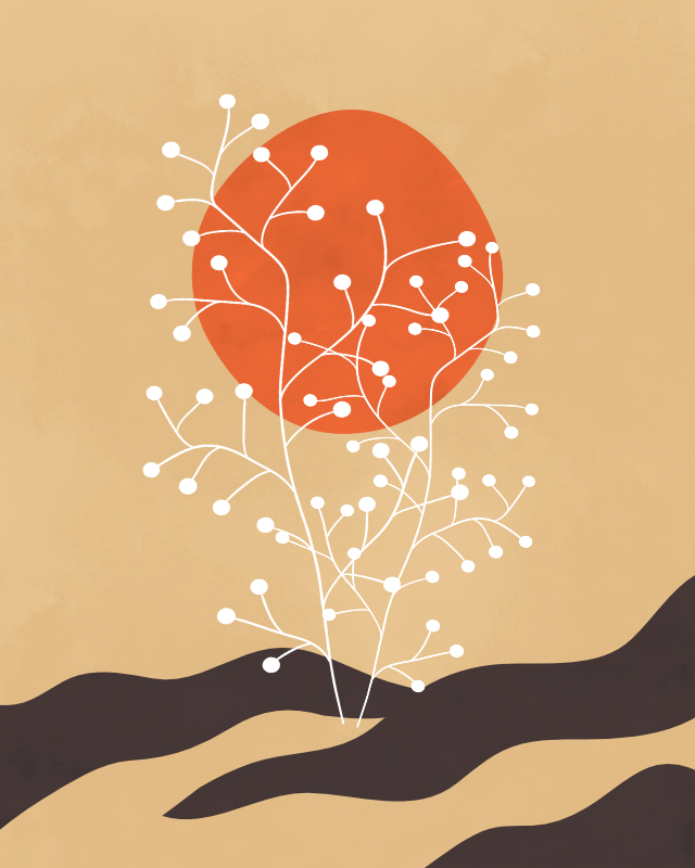 Minimalist lines and shapes landscape with a tree in autumn colors 9