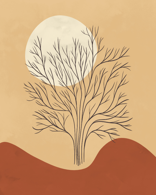 Minimalist lines and shapes landscape with a tree in autumn colors 10