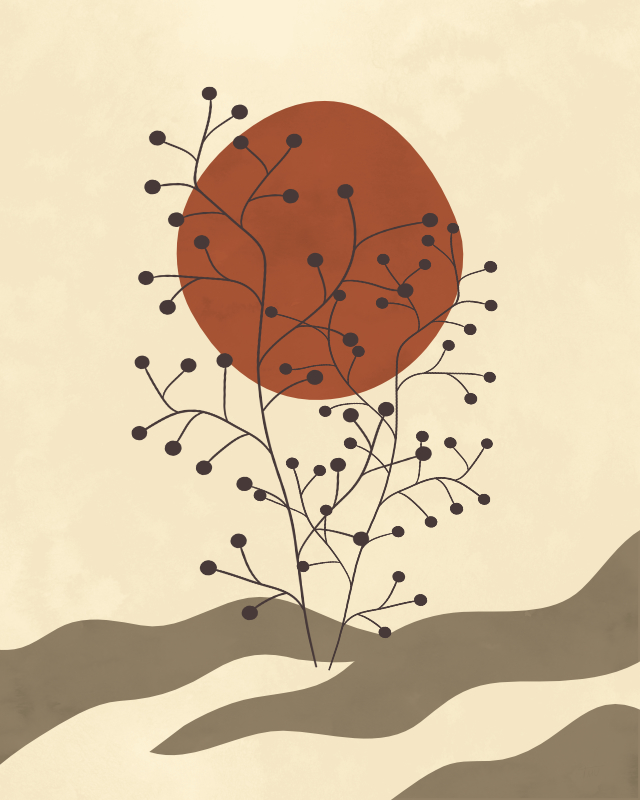 Minimalist lines and shapes landscape with a tree in autumn colors 11