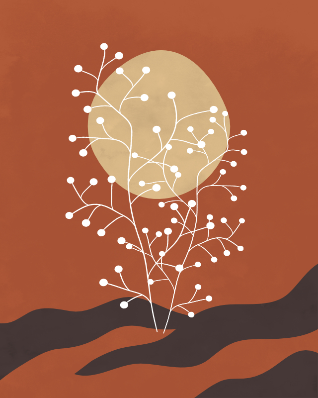 Minimalist lines and shapes landscape with a tree in autumn colors 14