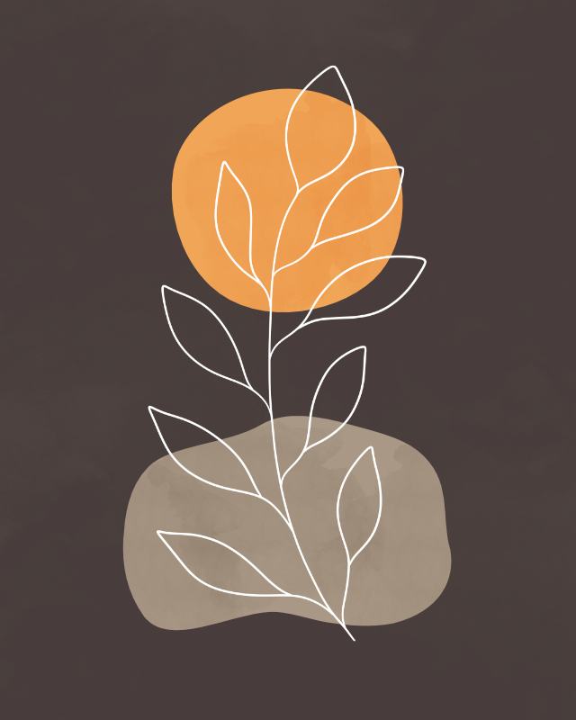 Minimalist lines and shapes landscape in autumn colors, abstract landscape art with a leafy plant 1