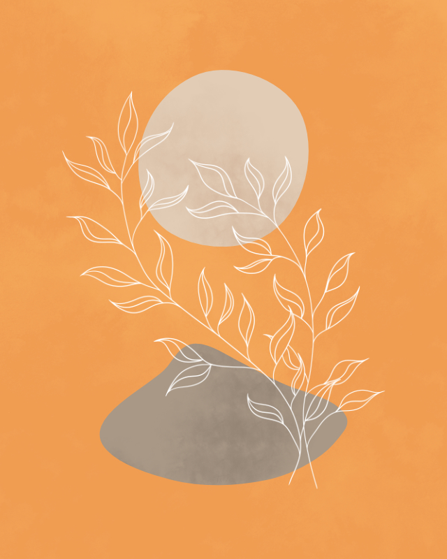 Minimalist lines and shapes landscape in autumn colors, abstract landscape art with a leafy plant 17