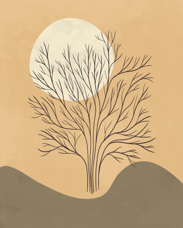 Minimalist lines and shapes landscape with a tree in autumn colors 16