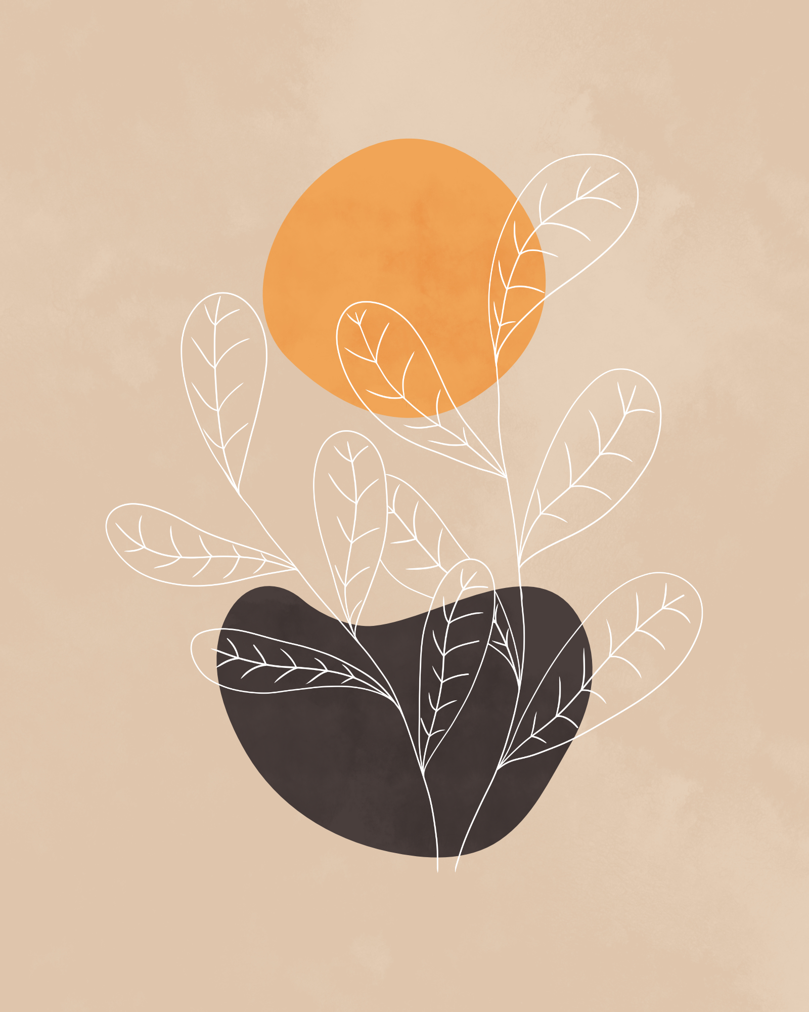 Minimalist lines and shapes landscape in autumn colors, abstract landscape art with a leafy plant 4
