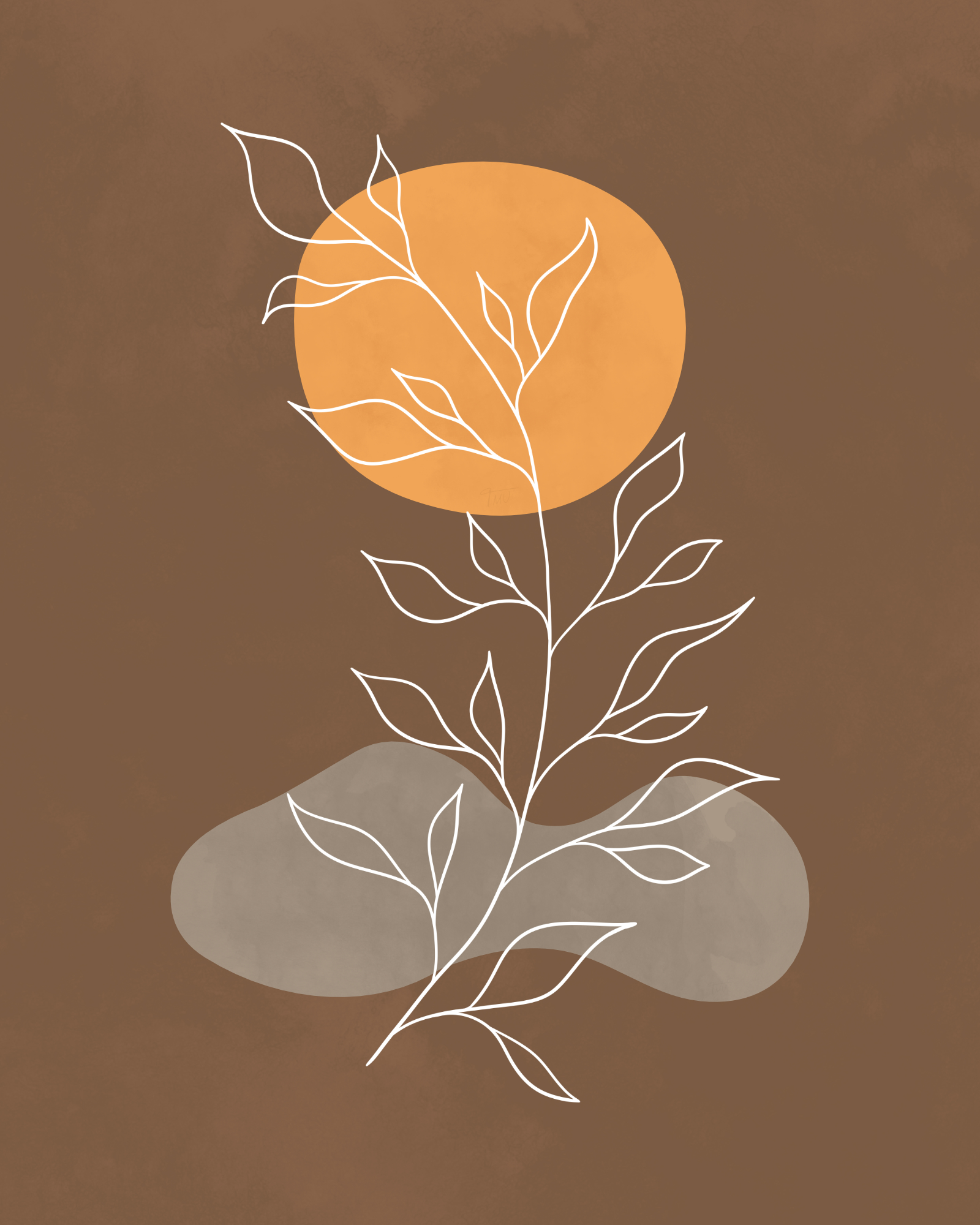 Minimalist lines and shapes landscape in autumn colors, abstract landscape art with a leafy plant 8
