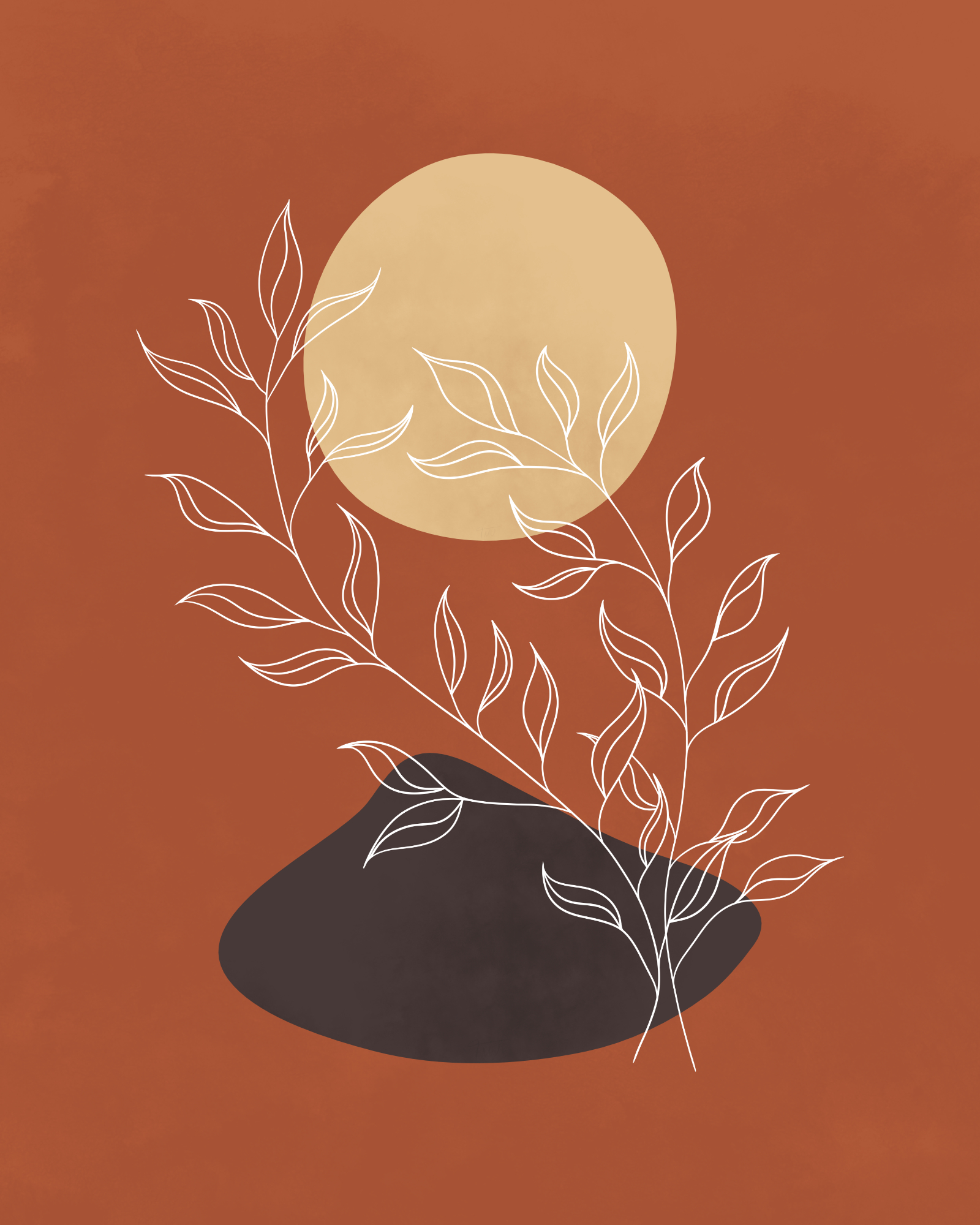 Minimalist lines and shapes landscape with a plant in autumn colors 17