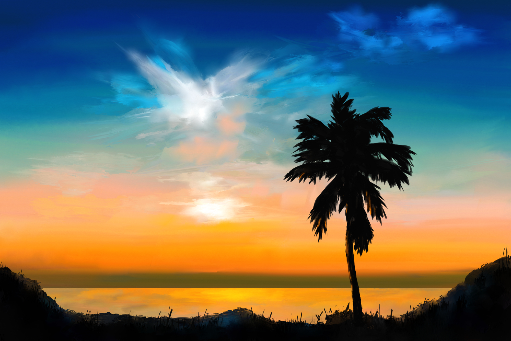Digital acrylic painting of a Sunset with Palm Tree