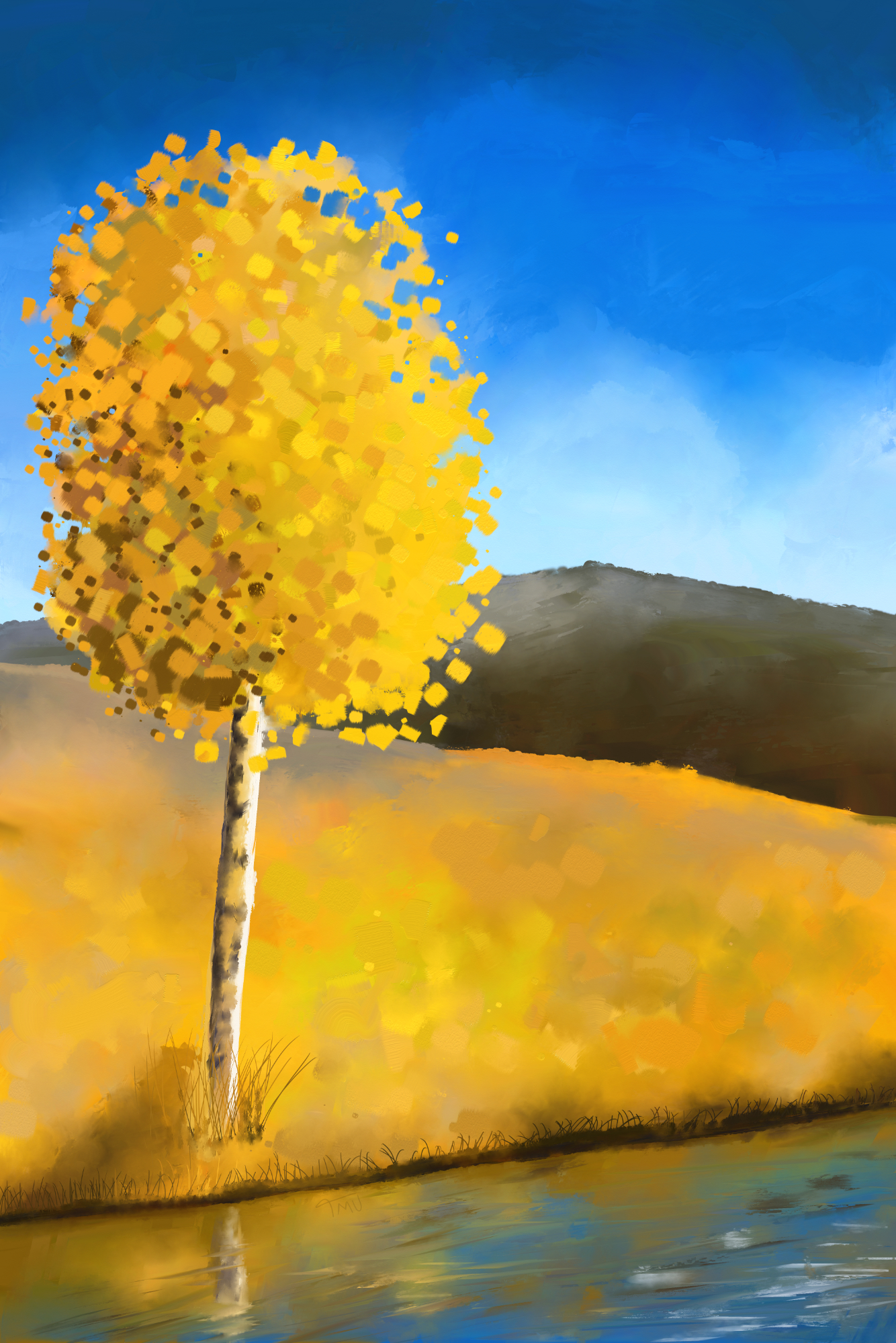 Digital acrylic painting of a Yellow autumn day