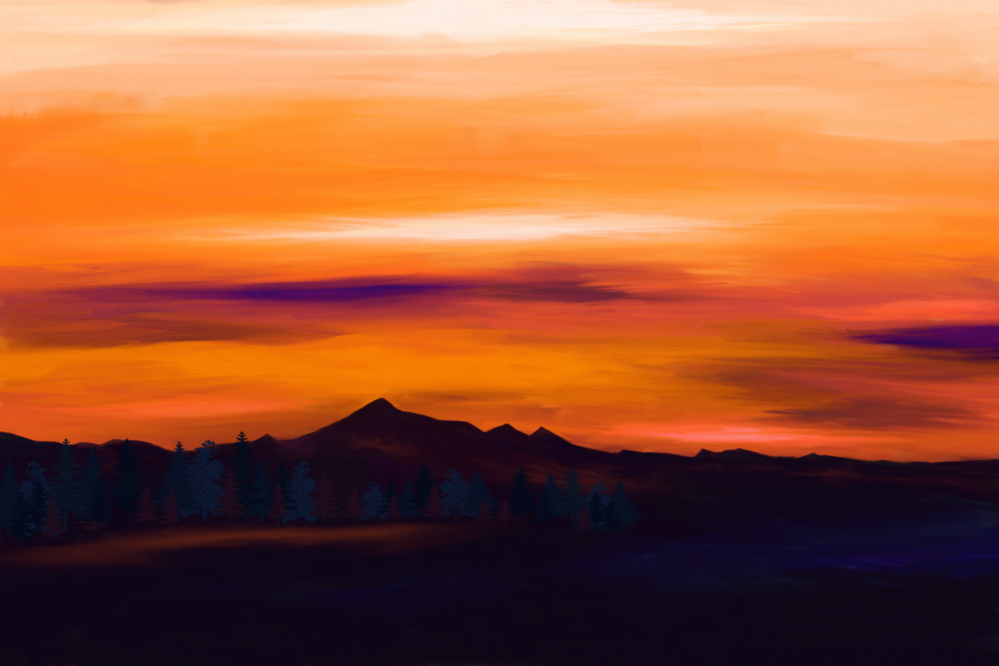 Digital acrylic painting of a landscape with an orange sky