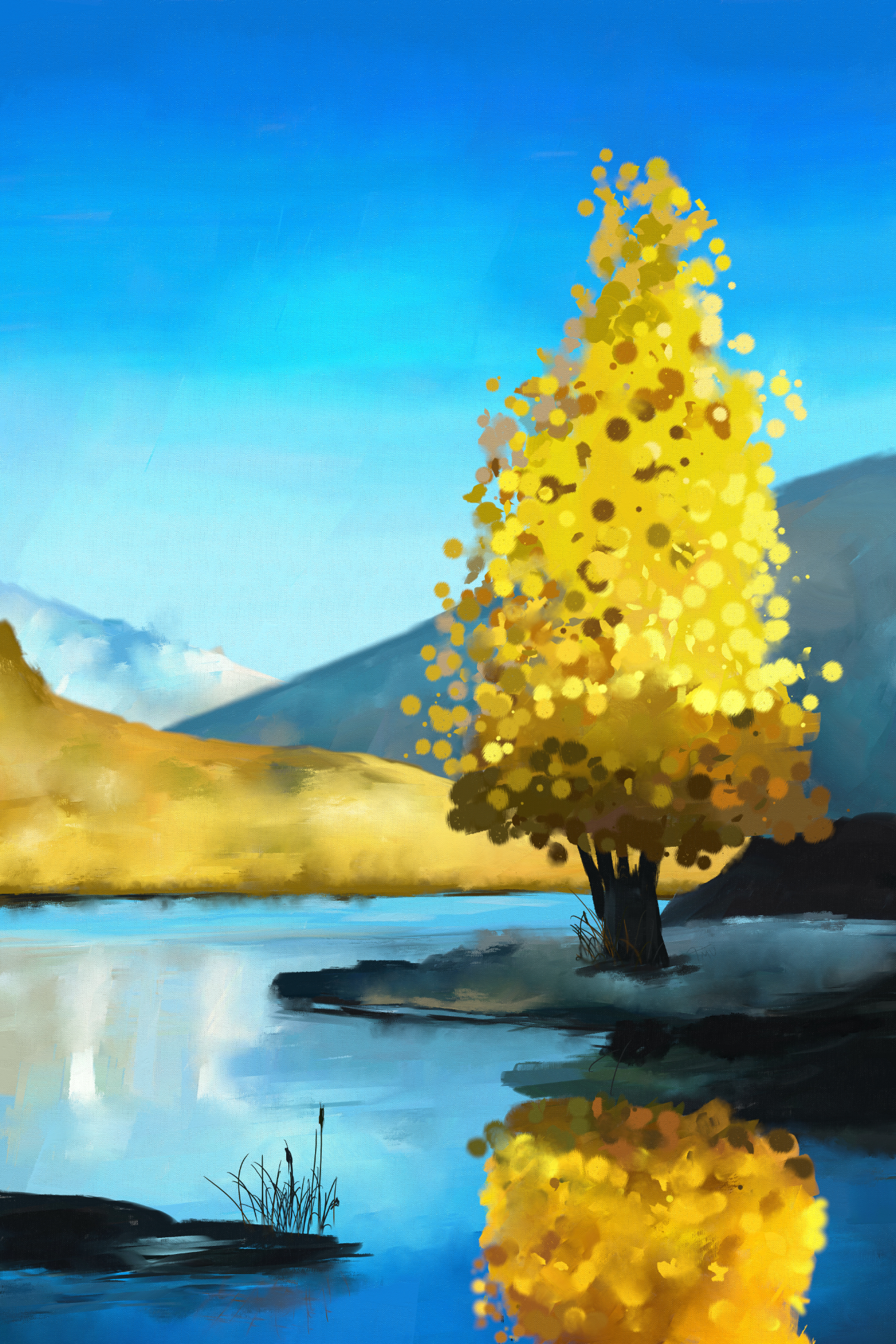 Digital acrylic painting of spring tree reflection